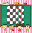 Game template with children in the classroom vector image