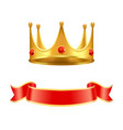 golden crown with ruby gem and silk curl ribbon vector image vector image