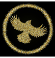golden glitter flying bird on black background vector image