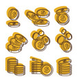 golden money coins in piles us dollar currency vector image