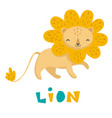 hand drawn of a smiling cute lion vector image