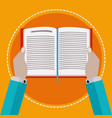 hands holding a book while reading vector image vector image