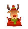 happy new year cartoon card christmas reindeer in vector image
