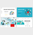isometric healthcare websites set vector image