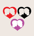 kiss heart couple people silhouette vector image