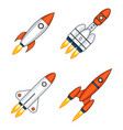 lineart outline space rocket start up launch vector image