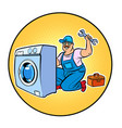 master repair washing machine vector image vector image