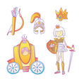 medieval cute cartoon princess icon set princess vector image
