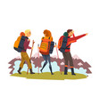 men and woman travelling together tourists hiking vector image vector image