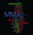mma text background word cloud concept vector image vector image