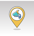 Moon Cloud blows Wind pin map icon Weather vector image vector image