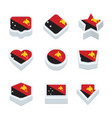 papua new guinea flags icons and button set nine vector image
