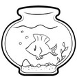 pet fish cartoon line drawing vector image vector image