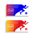 set gradient banners with running man vector image