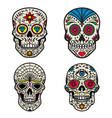 set of colorful sugar skull isolated on white vector image vector image