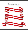 set of three ribbons with the danish colors vector image vector image