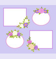 set photo frames color rose and daisy flowers vector image
