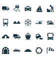 shipment icons set with tunnel ahead bus beware vector image vector image