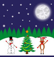 snowman and deer at the decorated christmas tree vector image vector image