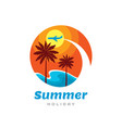summer holiday - concept business logo template vector image vector image