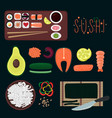 sushi elements collection vector image vector image