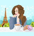 woman drinking coffee in paris eiffel vector image vector image