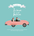 young couple in the car on their wedding day vector image