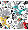 colorful seamless pattern with cute chinese bear vector image