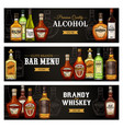 alcohol drinks bottles bar menu banners vector image
