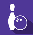 bowling flat icon vector image vector image