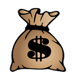 Brown money bag icon with dollar sign isolated on vector image