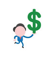 businessman character running and holding dollar vector image