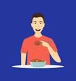 cartoon character person eating meal on a blue vector image vector image