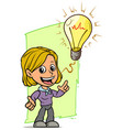 cartoon girl character with idea lightning bulb vector image vector image