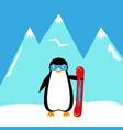 cartoon penguin snowboarder vector image vector image
