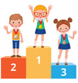 children students in school clothes with medals vector image vector image