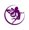 crescent moon flying fairy symbol design vector image