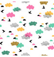 cute cartoon flying birds and clouds geometric vector image