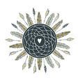 Dream catcher with feathers Beautiful hand-drawn vector image vector image