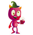 drunk devil with beer on white background vector image vector image