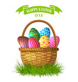 easter concept basket with colored vector image vector image