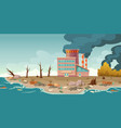ecology pollution factory pipes emitting smoke vector image