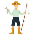 fisherman with fishing rod and fish in hat and vector image vector image