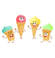 funny ice cream characters cones popsicles with vector image vector image