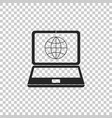 globe on screen of laptop icon isolated vector image vector image