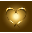 Gold silk ribbon heart vector image