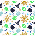 halloween seamless pattern icons of skull vector image vector image