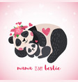 hand drawn card with cute sleeping pandas vector image vector image