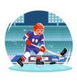 hockey player running character stadium background vector image