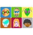 icons avatars pixel art vector image